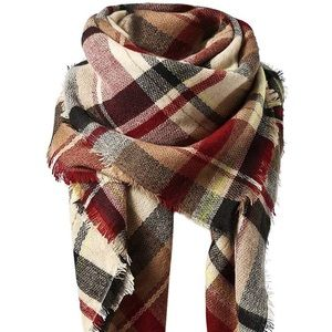Large Classic Tassel Plaid Soft Chunky Scarf